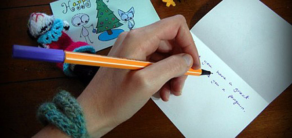 Writing Christmas card